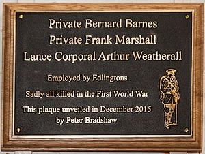 J B Edlington War Memorial Plaque